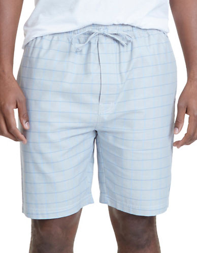 Nautica Windowpane Plaid Pajama Shorts-GREY-Medium