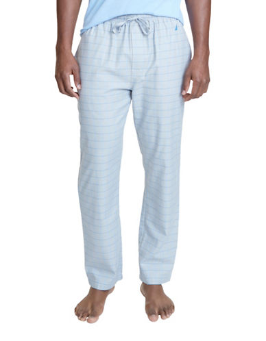 Nautica Windowpane Plaid Pajama Pants-GREY-Medium