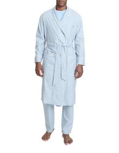 Nautica Plaid Cotton Robe-GREY-Small/Medium