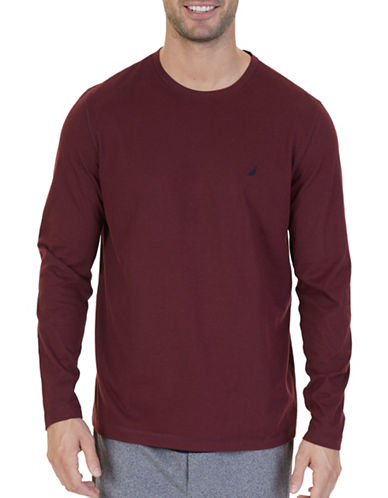 Nautica Raglan Sleeve Sleep T-Shirt-BURGUNDY-Medium