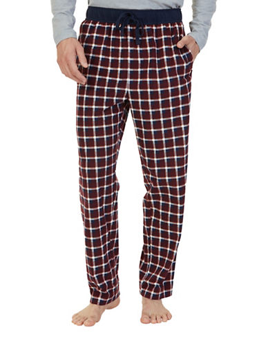 Nautica Sueded Fleece Blue Plaid Pant-BURGUNDY-Small