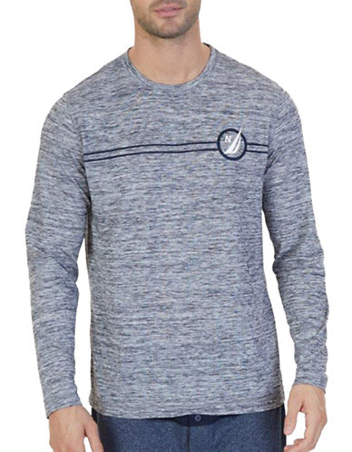 Nautica Space Dye Logo Sleepshirt-GREY-Large