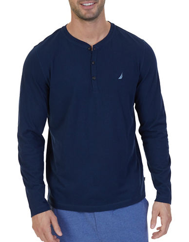 Nautica Long-Sleeve Pullover Henley-BLUE-Medium