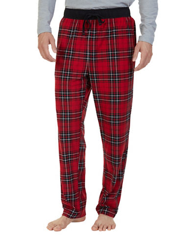 Nautica Suede Fleece Plaid Pyjama Pants-RED-Small