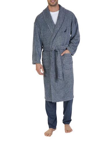 Nautica Freckled Plush Wrap Robe-NAVY-One Size