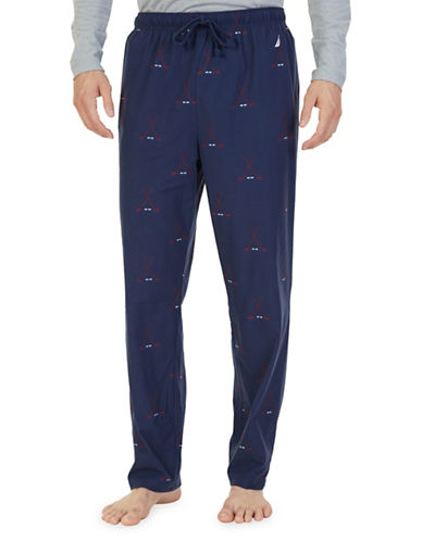 Nautica Hockey Fleece Lounge Pants-NAVY-Medium