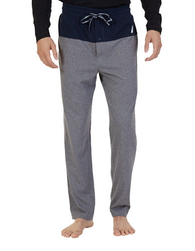 Nautica Heathered Pajama Pants-GREY-Medium