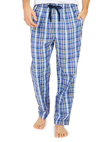 Nautica Plaid Cotton Pajama Pants-BLUE-Medium 90077674_BLUE_Medium