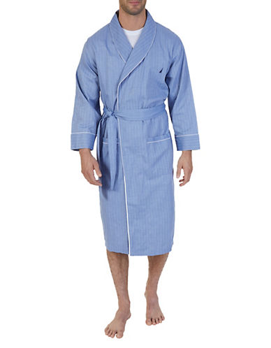 Nautica Captains Herringbone Robe-BLUE BONE-Small/Medium
