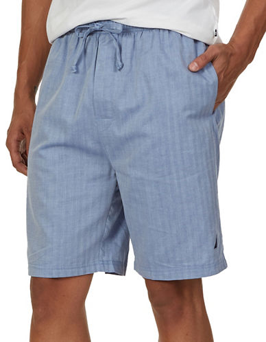 Nautica Herringbone Woven Cotton Sleep Shorts-CORNFLOWER-Small