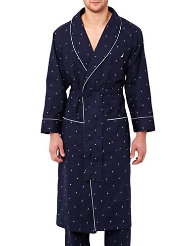 Nautica Woven J-Class Robe-NAVY BLUE-Small/Medium