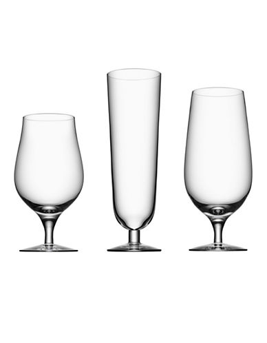 Orrefors Three-Piece Beer Glass Set-CLEAR-One Size