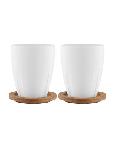 Kosta Boda Bruk Pair of Mugs With Lids-WHITE-One Size