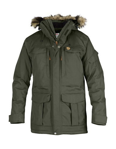 Fjallraven Parka with Faux Fur Trim Hood-GREY-Large
