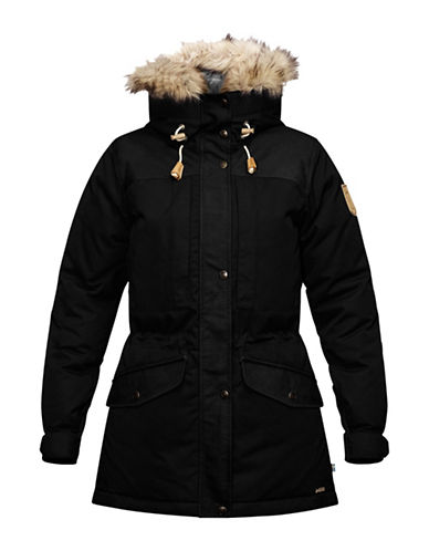 Fjallraven Singi Faux Fur Trim Hooded Jacket-BLACK-X-Small 88681495_BLACK_X-Small