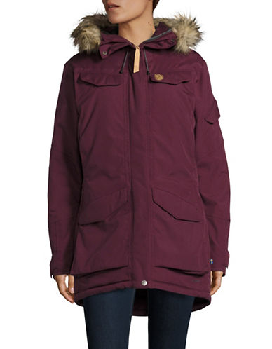 Fjallraven Nuuk Faux Fur Parka-RED-X-Small
