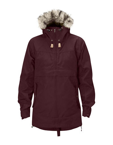 Fjallraven Iceland Anorak with Faux Fur Trim-DARK RED-X-Small