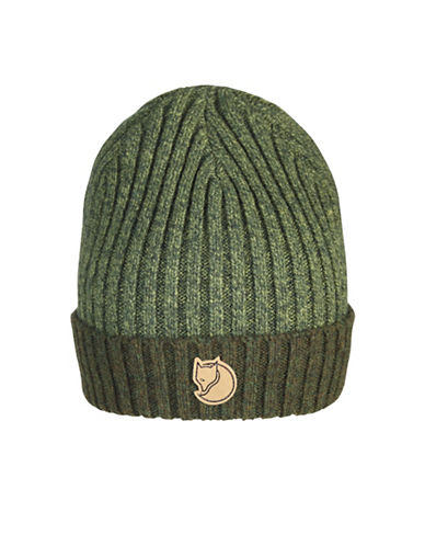 Fjallraven Two-Tone Ribbed Wool Beanie-GREEN-One Size