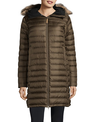 Fjallraven Ovik Down Parka with Faux Fur Trim-BEIGE-Small