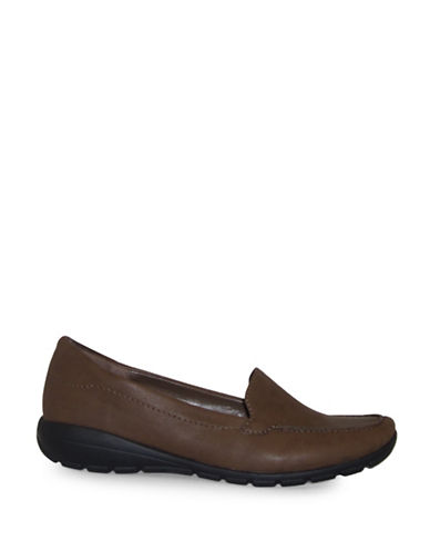 Easy Spirit Agado Leather Casual Flats-BROWN-8.5