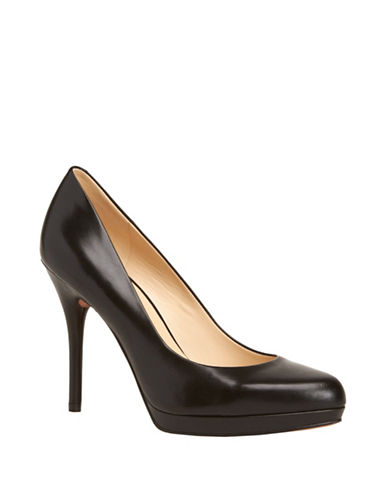 Nine West Kristal Leather Pumps-BLACK-5.5