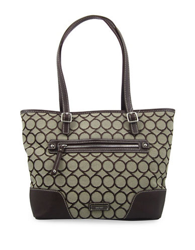 Nine West Geometric Pattern Tote-BROWN-One Size