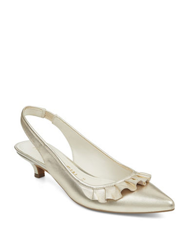Anne Klein Elanore Point Toe Ruffle Slingback Pumps-GOLD-9