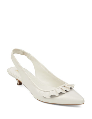 Anne Klein Elanore Point Toe Ruffle Slingback Pumps-OFF WHITE-9
