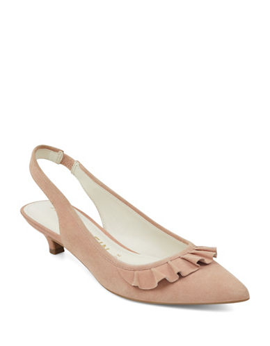 Anne Klein Elanore Point Toe Ruffle Slingback Pumps-PINK-8.5