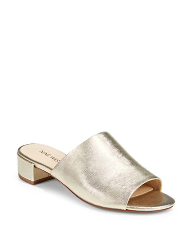 Nine West Raissa Open Toe Mules-GOLD-8.5
