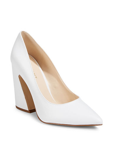 Nine West Henra Leather Pumps-WHITE-5.5