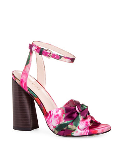 Nine West Lavilah Printed Ankle-Strap Sandals-PINK-6.5