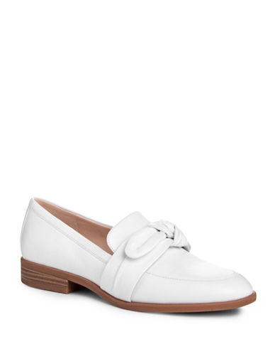 Nine West Janilly Bow Leather Loafers-WHITE-5.5