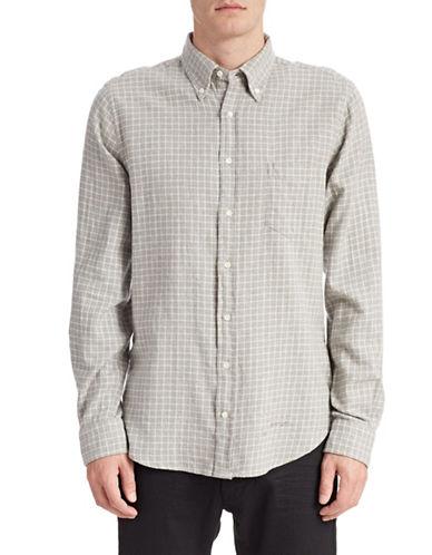 Gant Rugger Twill Cotton Grid Shirt-SOFT GREY-X-Large