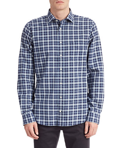 Gant Rugger Checked Button Up Shirt-HURRICANE BLUE-Small