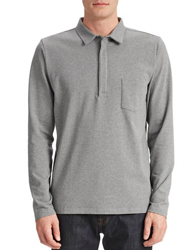 Filippa K Long Sleeve Polo-GREY MELANGE-Large