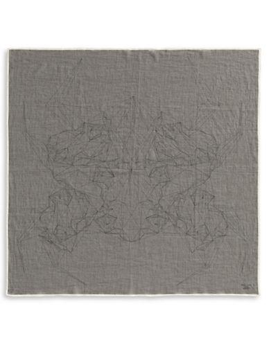 Filippa K Printed Cotton Square Scarf-DARK GREY-One Size