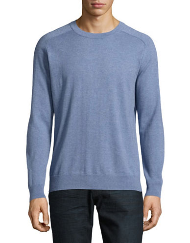 Filippa K Wool-Cotton Crew Neck Sweater-BLUE-Small