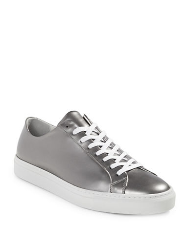 Filippa K Morgan Low Metallic Leather Sneakers-SILVER-12
