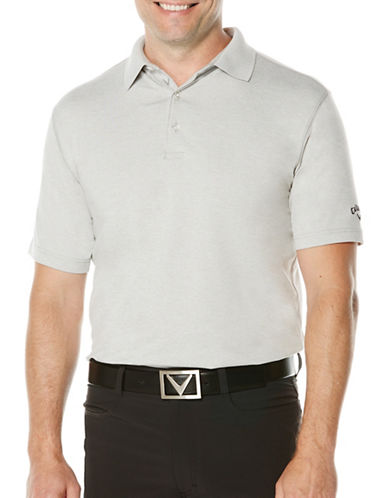 Callaway Short Sleeve Golf Performance Heathered Polo-LIGHT GREY-Small