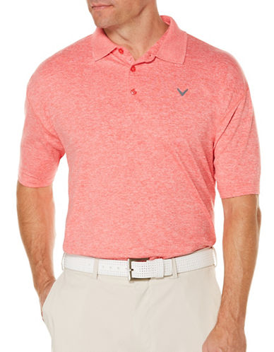 Callaway Short Sleeve Golf Performance Heathered Polo-RED-Small