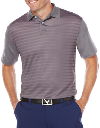 Callaway Short Sleeve Golf Performance Ombre Striped Polo-GREY-Medium
