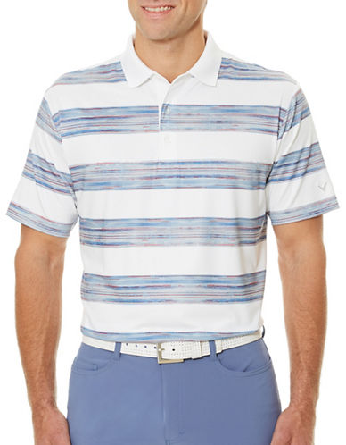 Callaway Golf Performance Rugby Striped Polo-WHITE-Medium