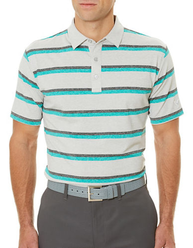 Callaway Golf Performance Heathered Stripe Printed Polo-GREEN-Large