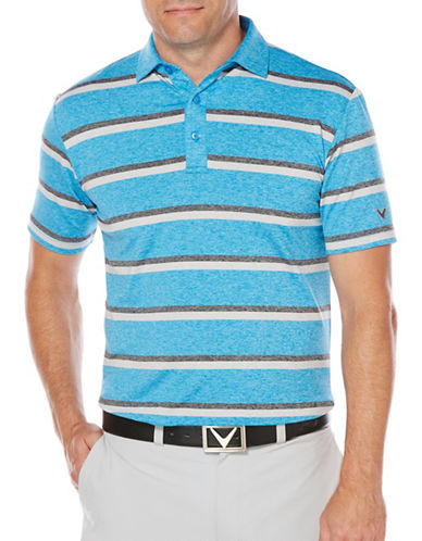 Callaway Golf Performance Heathered Stripe Printed Polo-BLUE-X-Large