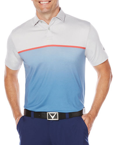 Callaway Mens Short Sleeve Golf Performance Ombre Heathered Block Polo-BLUE-Medium