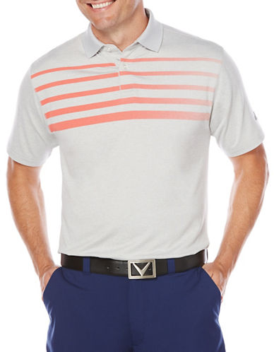 Callaway Golf Performance Ombre Chest Stripe Heathered Polo-RED-Small