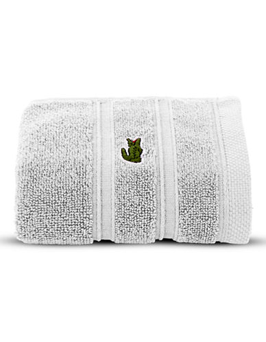 Lacoste Solid Cotton Washcloth-WHITE-Washcloth