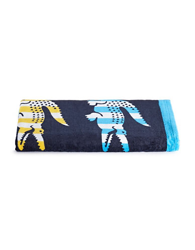 Lacoste Bayadere Bath Towel-BLACK IRIS-Beach Towel