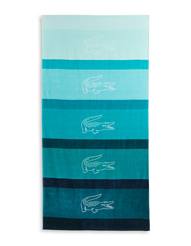 Lacoste Striped Signature Beach Towel-TURQUOISE-One Size
